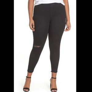 SPANX Black Distressed Ankle Skinny Jeans